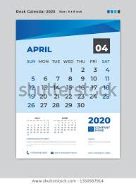 April 2020 Template April 2020 Month Template Desk Calendar Stock Vector
