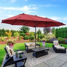 outsunny twin patio umbrella canopy outdoor sunshade w crank handle wine red
