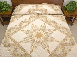 Lone Star Log Cabin Quilt -- marvelous made with care Amish Quilts ... & Beige Lone Star Log Cabin Quilt Photo 1 ... Adamdwight.com