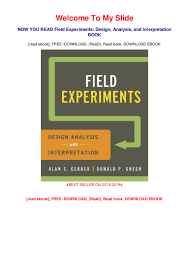 Design And Analysis Of Experiments Ebook Pdf Download Field Experiments Design Analysis And