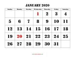 Small Printable 2020 Calendar Free Download Printable January 2020 Calendar Large Font