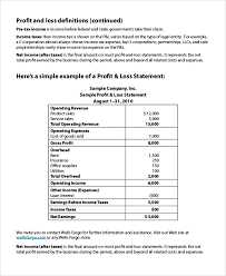 Profit And Loss Statments Sample Profit Loss Statement 8 Examples In Pdf Excel