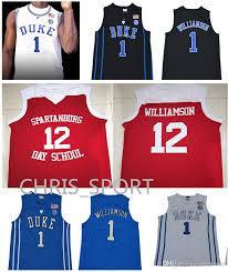 Chandails Spartanburg 1 Basket Duke Zion Acheter Maillots Jour Williamson L'école Brodés 12 Blanc Uniforme De Ball College