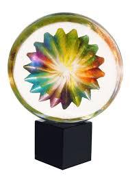 murano glass rainbow spiral sculpture by mariano moro