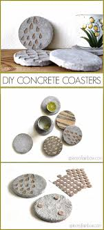 43 DIY concrete crafts - DIY Concrete Coasters With Decorative Inserts -  Cheap and creative countertops