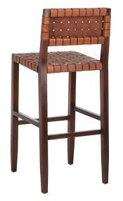 deluxe contemporary woven leather bar stool a modern interpretation of the pub classic it s finely crafted with mahogany wood that features a rich