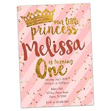 Princess Invite Amazon Com Pink Gold Princess 1st Birthday Invitations Girl First