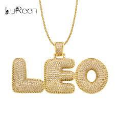 lureen custom name bubble letters pendant necklaces for mens hip hop cubic zircon necklace gold silver