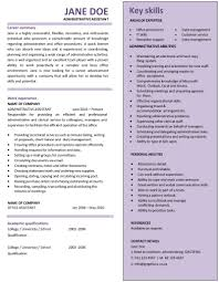 Template Cv Format For Admin Assistant Resume Examples