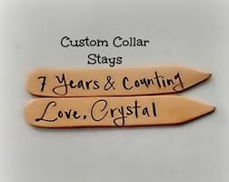 7 year anniversary copper gift for him hand sted collar stays 7th year copper anniversary gift personalized for him gift for husband