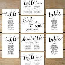 Seating Chart Wedding Template Wedding Seating Chart Cards