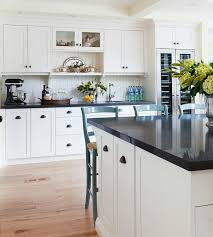 off white kitchen cabinets with black countertops. Perfect White Off White Shaker Kitchen Cabinets With Beadboard Trim Backsplash In With Black Countertops