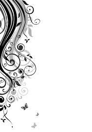 葉っぱや草木のイラスト壁紙背景no016白黒つる蝶
