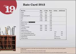 Sample Rate Sheet Template Rate Card Template Word Professional Samples Templates 23