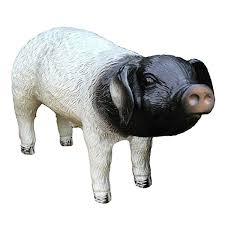 black white pig up garden ornament