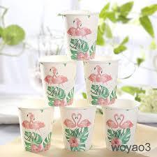 Romantic <b>10pcs</b> Tropical <b>Flamingo Paper</b> Disposable Cups Birthday ...