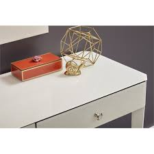 pulaski reverse painted glass writing desk in white