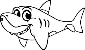 Cute Cartoon Shark Coloring Page Shark Coloring Pages Pinterest