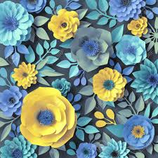 Daisy Paper Flower 3d Render Blue Yellow Paper Flowers Botanical Background Floral