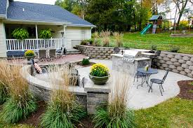 forever green cville iowa retaining walls outdoor kitchen patio built in grill