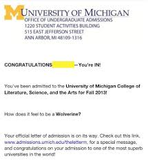 victor views reflections from a graduating senior campus  photo of a sample acceptance letter from the university of michigan