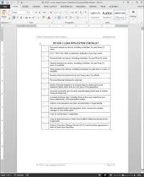 Loan Application Checklist Template Rc1030 1