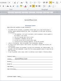 warranty template word warranty letter format in word