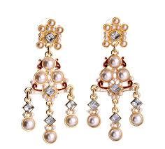 fashion elegant pearl long statement chandelier earrings