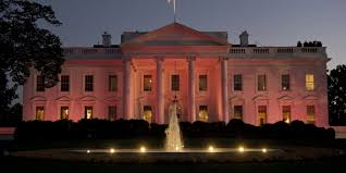 white house goes pink for breast cancer awareness month photo  white house goes pink for breast cancer awareness month photo huffpost