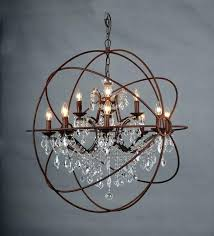 crystal and iron chandelier ndelier astounding crystal orb large round brown iron ndeliers and clear orb