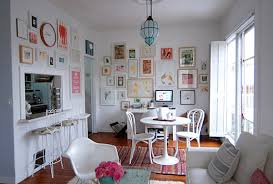 view in gallery touches of pastels in an all white room