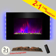 com akdy 36 led wall mount electric fireplace modern space heater flat tempered glass w remote control home kitchen