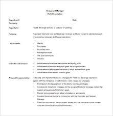 14 Restaurant Manager Job Description Templates Word