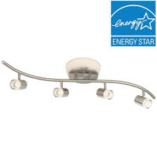 brushed nickel led ceiling mounted flushmount and track combo with frosted shades