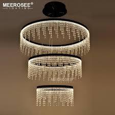 new design led ring chandelier light crystal lamp led hanging drop lamp for dining room led lamparas crystal lighting for home pendant light ring chandelier