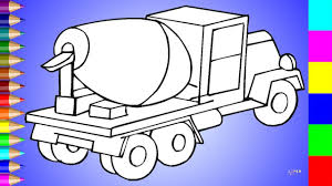 Cement Mixer Car Coloring Page | Video For Kids - YouTube
