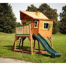 Axi Kinder Holzspielhaus Mit Rutsche Max