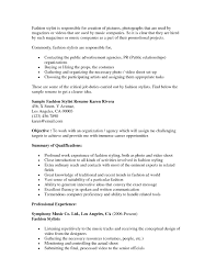 Fashion Stylist Resume Objective Examples Free Resume Templates
