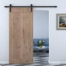 solid wood panelled alder interior barn door