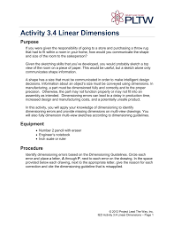 Introduction To Engineering Design Activity 2 4 Activity 3 4 Linear Dimensions
