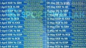 Ipl 2018 Time Table List Clip Ready