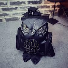 2017 fashion latest cool black pu leather owl backpack women hot las shoulder school bag youth