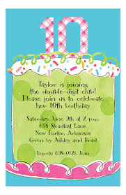 Birthday Invatations Girl Tenth Birthday Invitation