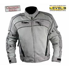 men s armored black and grey tri tex fabric and leather trim jacket with level