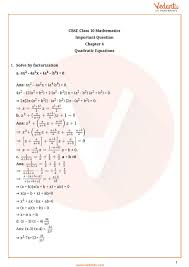 important questions for class 10 maths chapter 4 quadratic equations part 1