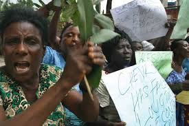Image result for picture of women protest march on environment pollution in nigeria