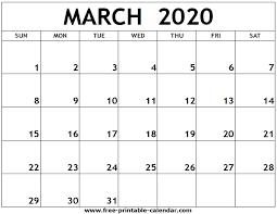 March 2020 Printable Calendar Free Printable Calendar Com