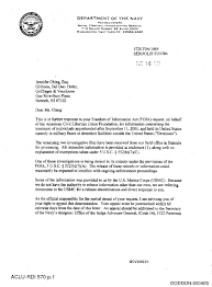 Ncis Production Cover Letter Aclu V Dod No 1 04 Cv 4151
