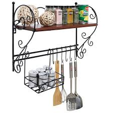 faull kitchen wall shelf with hanging basket amp hooks