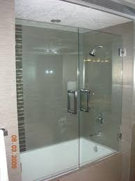 frameless heavy glass double door tub enclosure